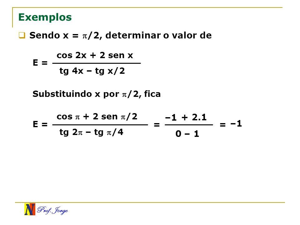 Exemplos Sendo x = /2, determinar o valor de –1 + 2.1 –1 – 1