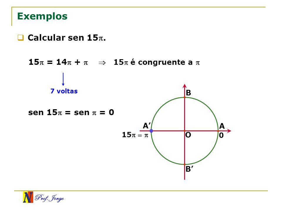 Exemplos Calcular sen 15. 15 = 14 +  sen 15 = sen  = 0