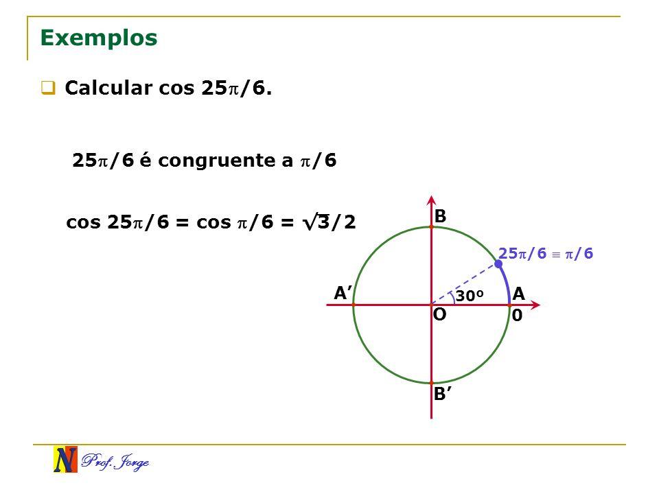Exemplos Calcular cos 25/6. 25/6 é congruente a /6