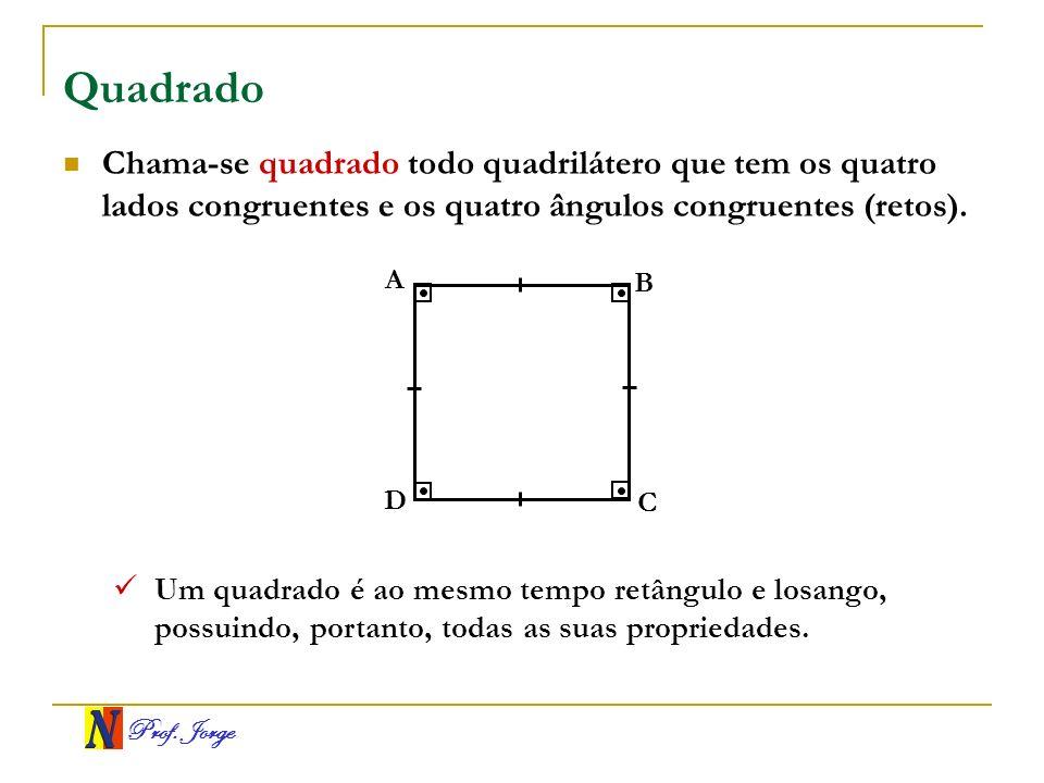 Quadrado Chama-se quadrado todo quadrilátero que tem os quatro lados congruentes e os quatro ângulos congruentes (retos).