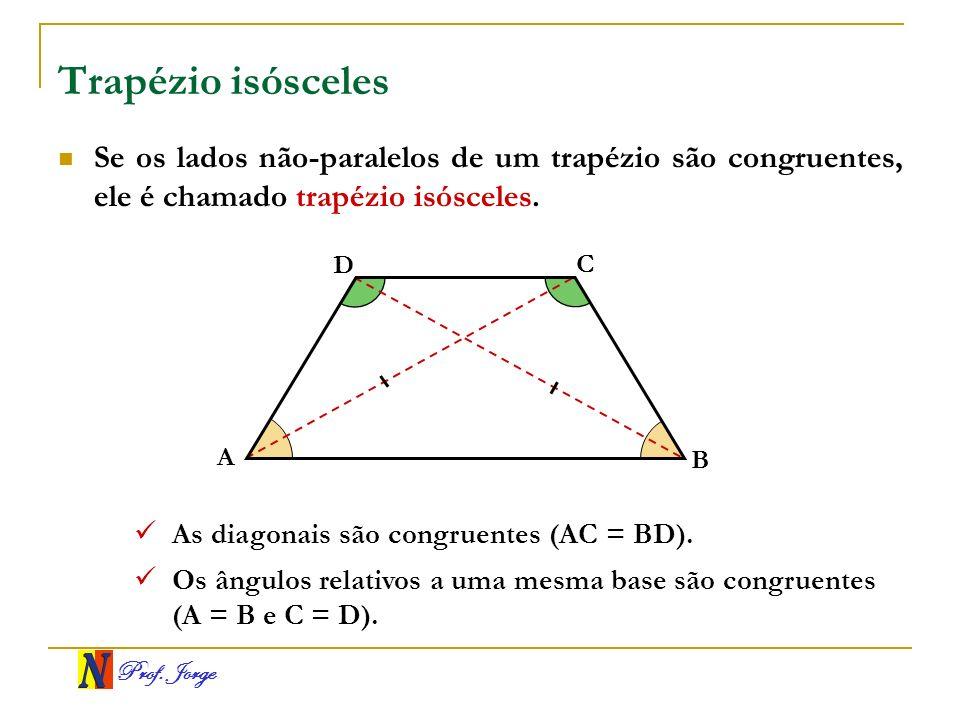 Trapézio isósceles Se os lados não-paralelos de um trapézio são congruentes, ele é chamado trapézio isósceles.