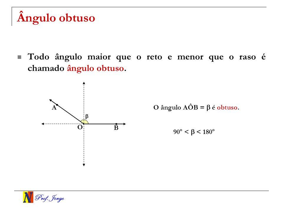 Ângulo obtuso Todo ângulo maior que o reto e menor que o raso é chamado ângulo obtuso. A. O ângulo AÔB =  é obtuso.