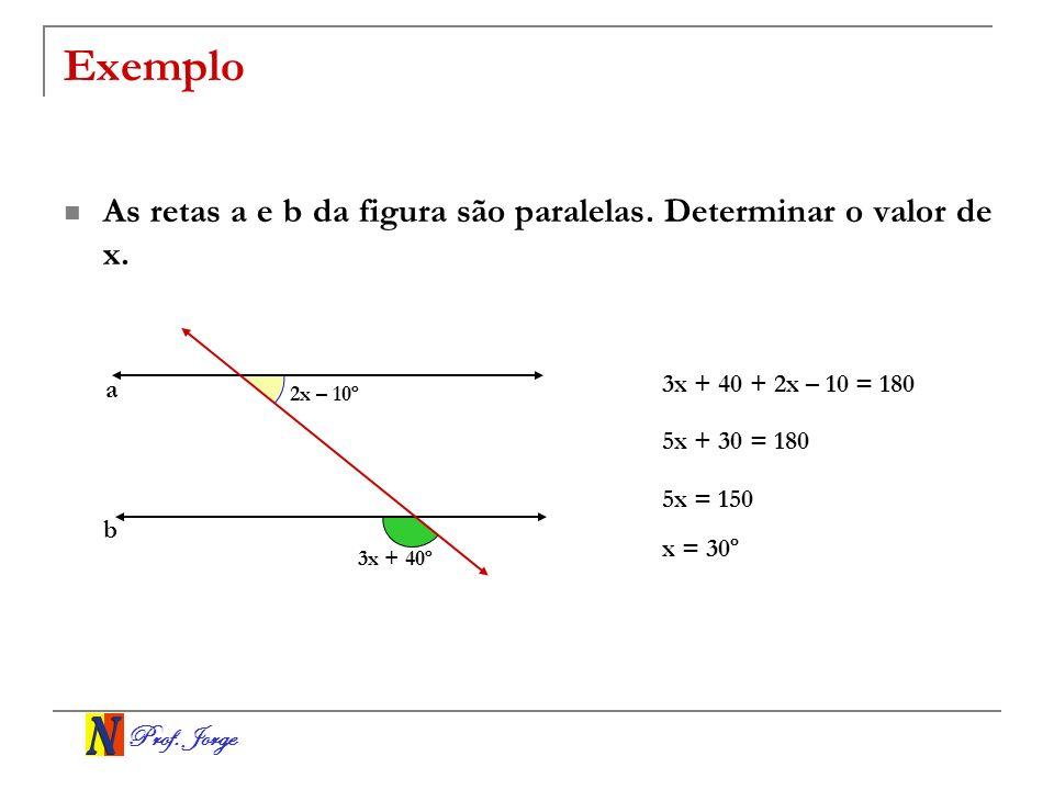Exemplo As retas a e b da figura são paralelas. Determinar o valor de x. a. 3x + 40 + 2x – 10 = 180.