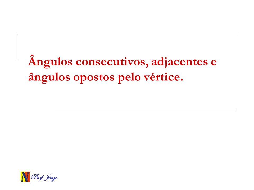 Ângulos consecutivos, adjacentes e ângulos opostos pelo vértice.