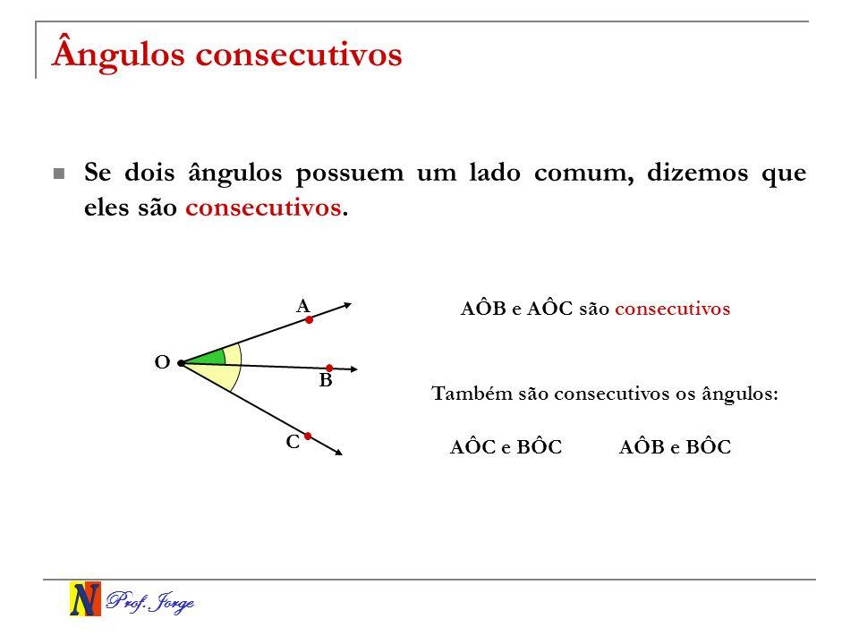 Ângulos consecutivos Se dois ângulos possuem um lado comum, dizemos que eles são consecutivos. A. AÔB e AÔC são consecutivos.