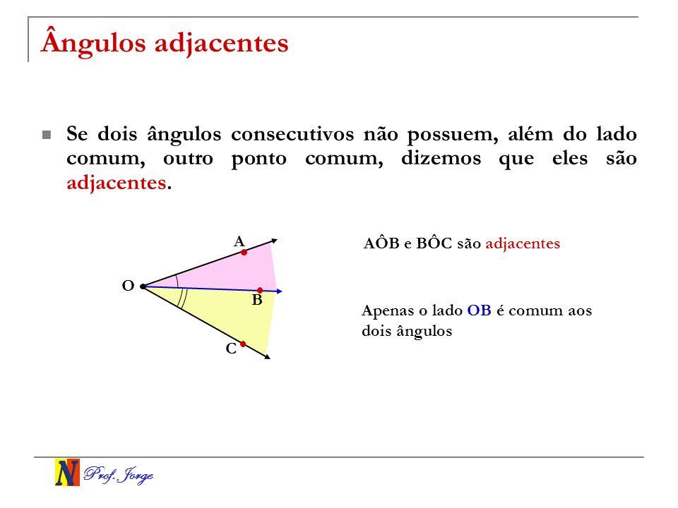Ângulos adjacentes Se dois ângulos consecutivos não possuem, além do lado comum, outro ponto comum, dizemos que eles são adjacentes.