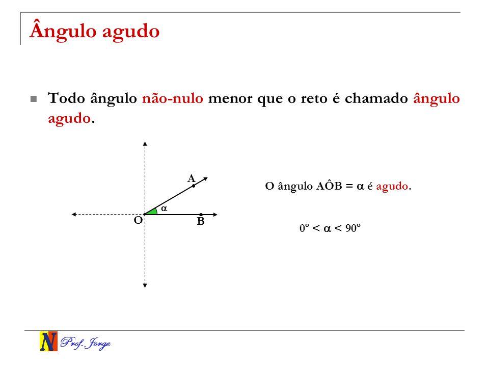 Ângulo agudo Todo ângulo não-nulo menor que o reto é chamado ângulo agudo. A. O ângulo AÔB =  é agudo.