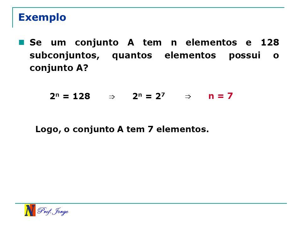 Exemplo Se um conjunto A tem n elementos e 128 subconjuntos, quantos elementos possui o conjunto A