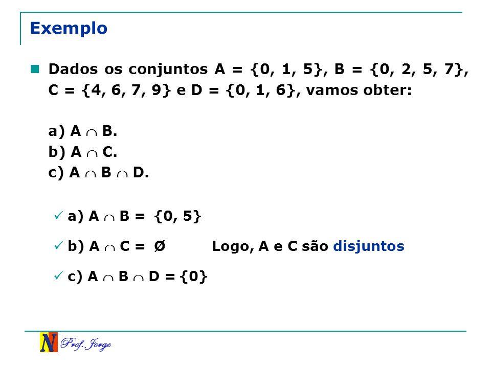 ExemploDados os conjuntos A = {0, 1, 5}, B = {0, 2, 5, 7}, C = {4, 6, 7, 9} e D = {0, 1, 6}, vamos obter: