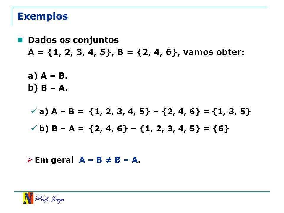 Exemplos Dados os conjuntos