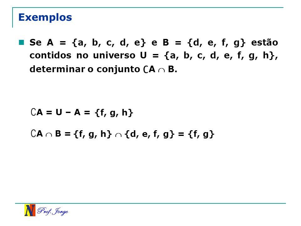 Exemplos ∁A = U – A = ∁A  B =