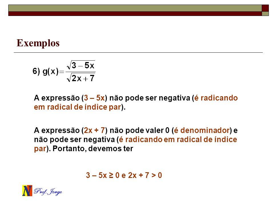 ExemplosA expressão (3 – 5x) não pode ser negativa (é radicando em radical de índice par).