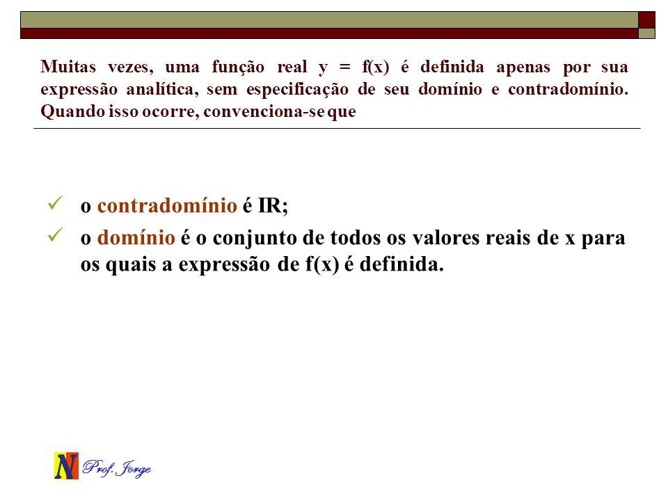 Muitas vezes, uma função real y = f(x) é definida apenas por sua expressão analítica, sem especificação de seu domínio e contradomínio. Quando isso ocorre, convenciona-se que
