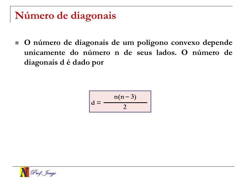 Número de diagonaisO número de diagonais de um polígono convexo depende unicamente do número n de seus lados. O número de diagonais d é dado por.