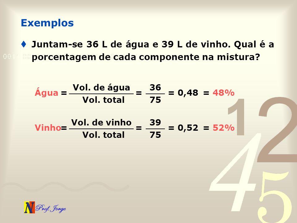 Exemplos Juntam-se 36 L de água e 39 L de vinho. Qual é a porcentagem de cada componente na mistura