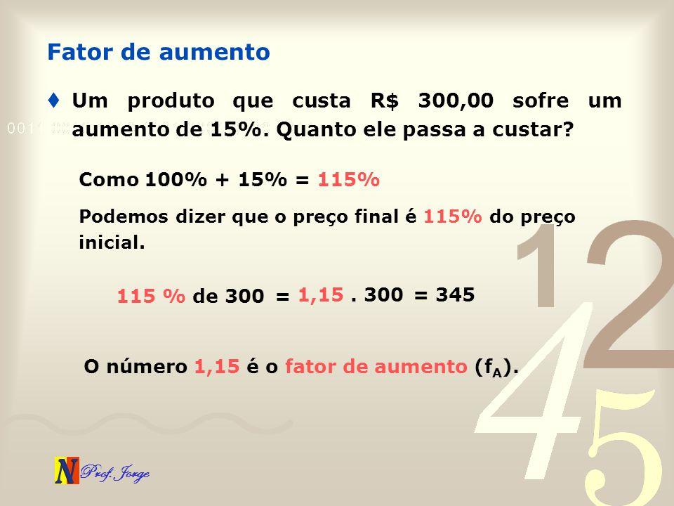 Fator de aumento Um produto que custa R$ 300,00 sofre um aumento de 15%. Quanto ele passa a custar