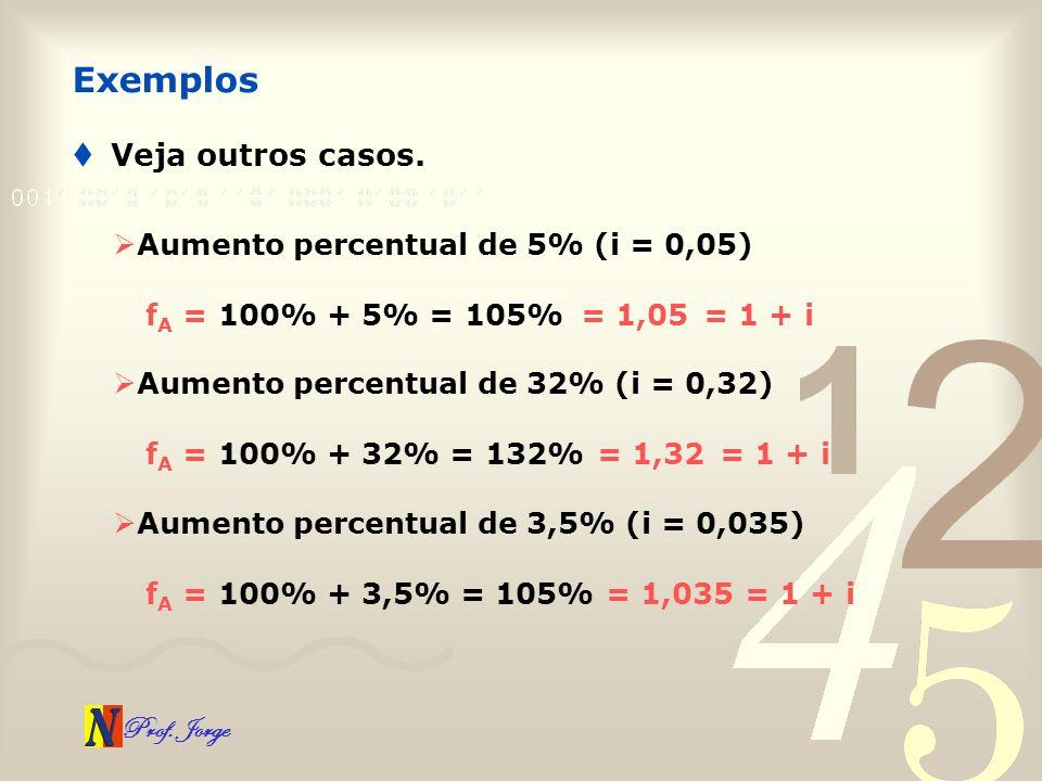 Exemplos Veja outros casos. Aumento percentual de 5% (i = 0,05)