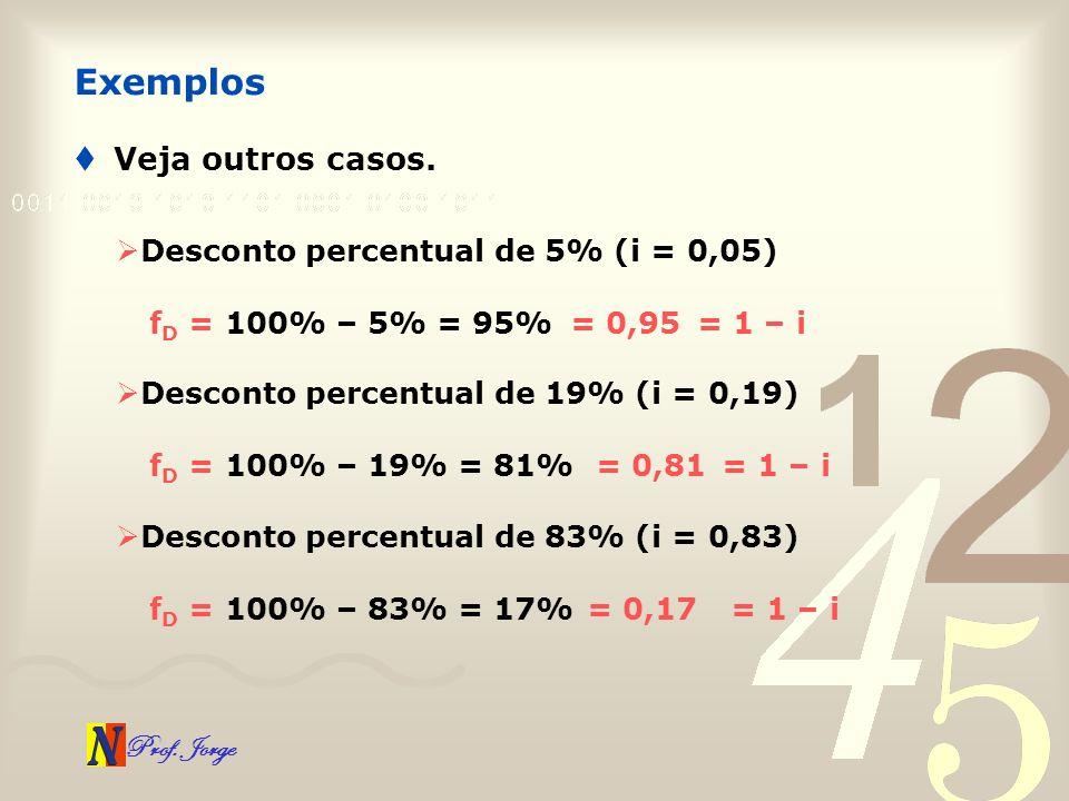 Exemplos Veja outros casos. Desconto percentual de 5% (i = 0,05)