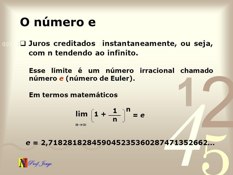 O número e Juros creditados instantaneamente, ou seja, com n tendendo ao infinito.