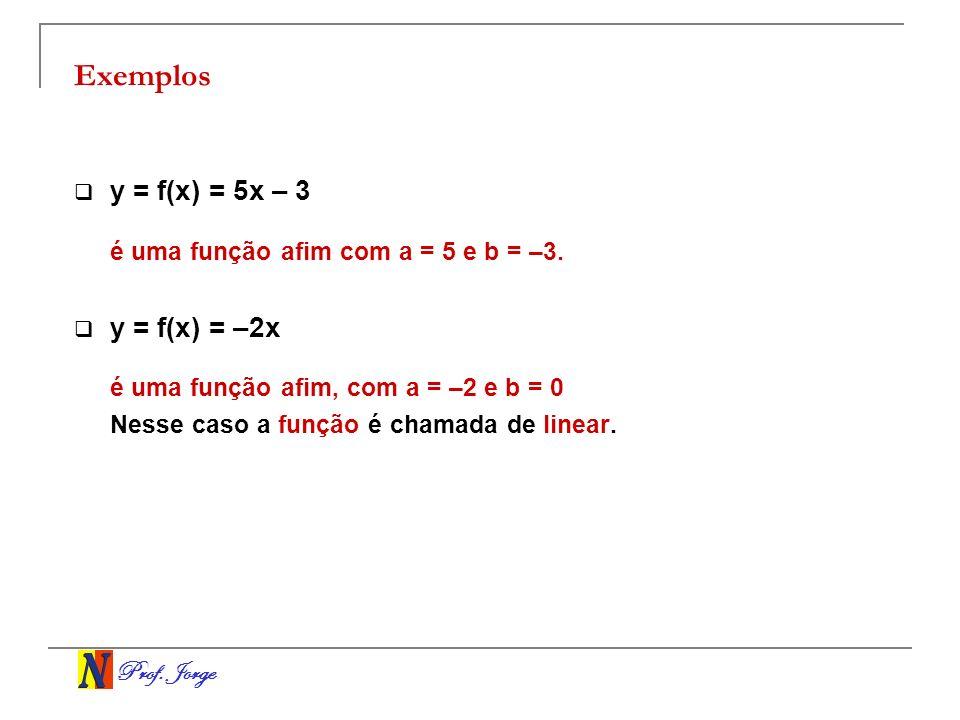 Exemplos y = f(x) = 5x – 3 é uma função afim com a = 5 e b = –3.