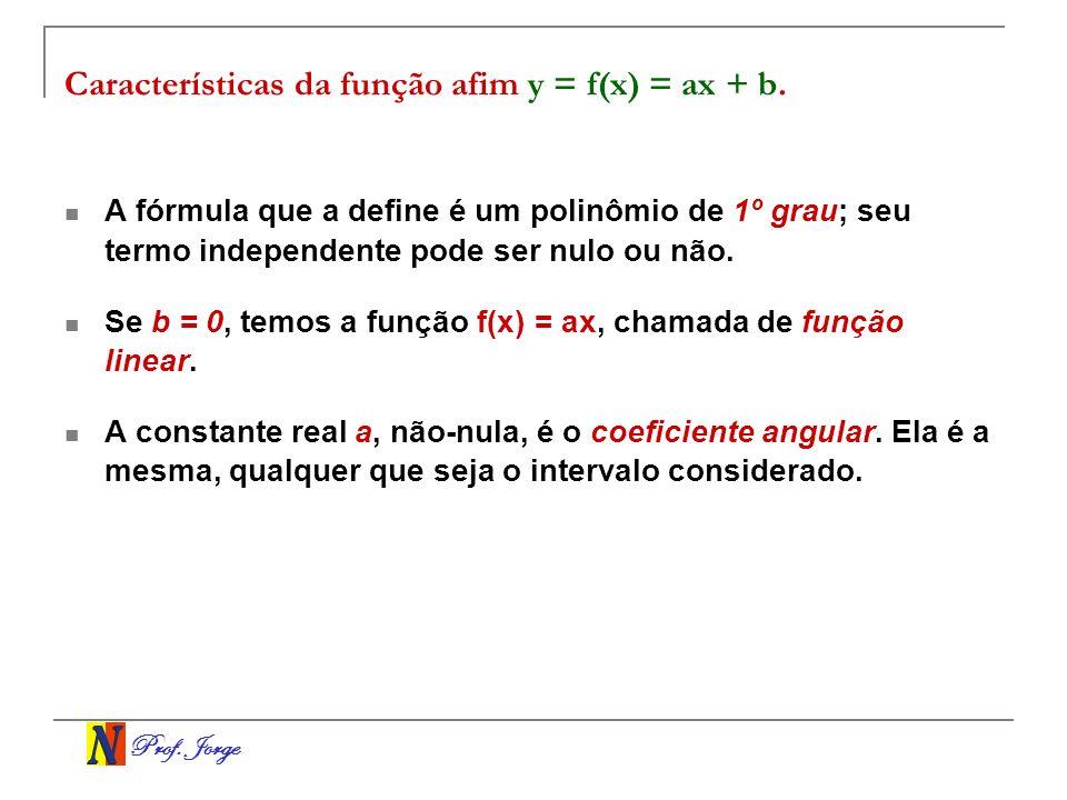 Características da função afim y = f(x) = ax + b.