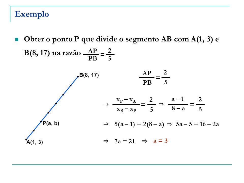 ExemploObter o ponto P que divide o segmento AB com A(1, 3) e B(8, 17) na razão. AP. PB. 2. 5. = AP.