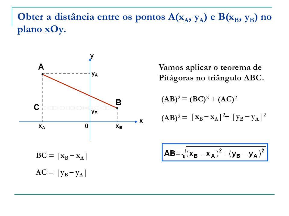 Obter a distância entre os pontos A(xA, yA) e B(xB, yB) no plano xOy.