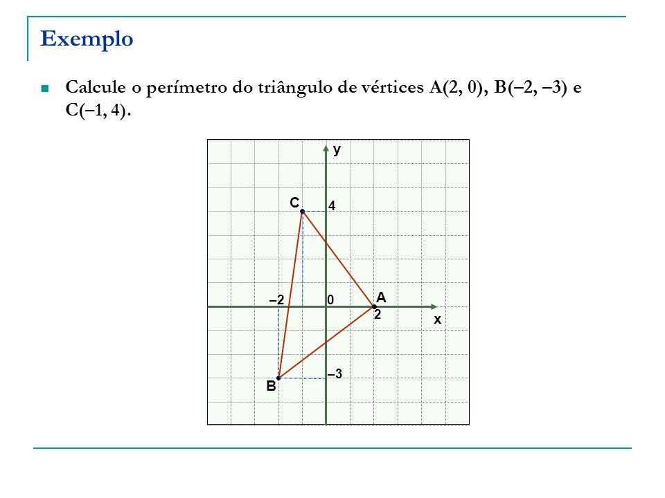 Exemplo Calcule o perímetro do triângulo de vértices A(2, 0), B(–2, –3) e C(–1, 4). y. C. 4. A.