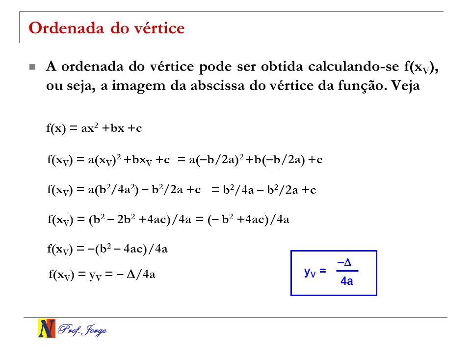 Ordenada do vértice A ordenada do vértice pode ser obtida calculando-se f(xV), ou seja, a imagem da abscissa do vértice da função. Veja.