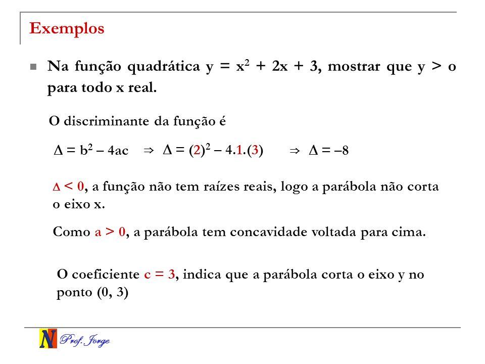 Exemplos Na função quadrática y = x2 + 2x + 3, mostrar que y > o para todo x real. O discriminante da função é.