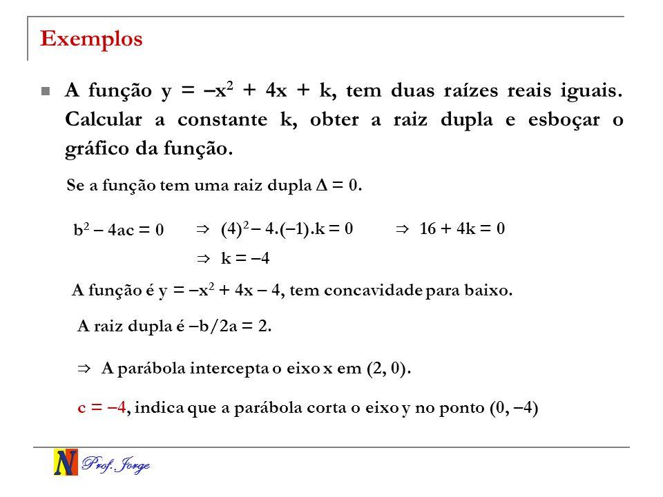 ExemplosA função y = –x2 + 4x + k, tem duas raízes reais iguais. Calcular a constante k, obter a raiz dupla e esboçar o gráfico da função.