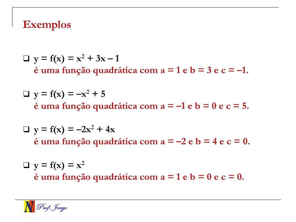Exemplos y = f(x) = x2 + 3x – 1. é uma função quadrática com a = 1 e b = 3 e c = –1. y = f(x) = –x2 + 5.