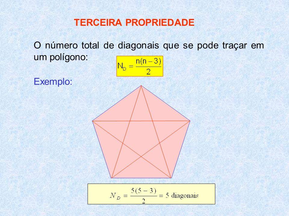 TERCEIRA PROPRIEDADE O número total de diagonais que se pode traçar em um polígono: Exemplo: