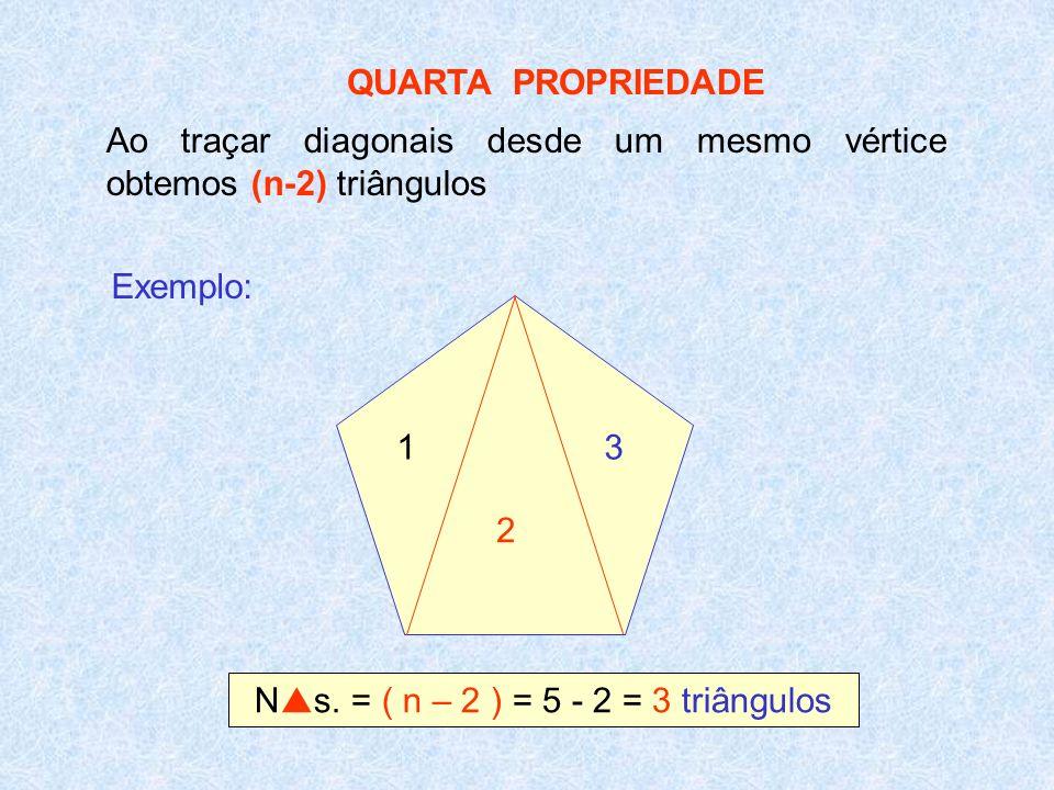 Ns. = ( n – 2 ) = 5 - 2 = 3 triângulos