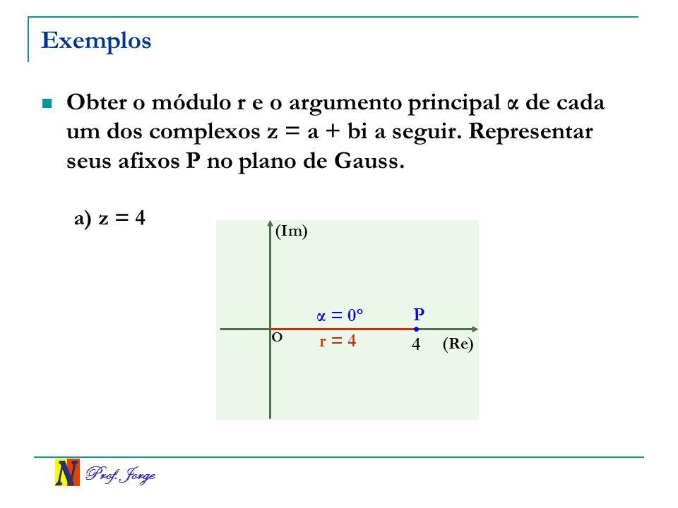 Exemplos Obter o módulo r e o argumento principal α de cada um dos complexos z = a + bi a seguir. Representar seus afixos P no plano de Gauss.