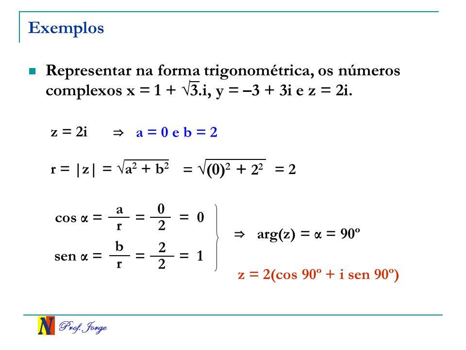 Exemplos Representar na forma trigonométrica, os números complexos x = 1 + √3.i, y = –3 + 3i e z = 2i.