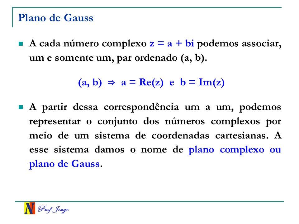 Plano de Gauss A cada número complexo z = a + bi podemos associar, um e somente um, par ordenado (a, b).