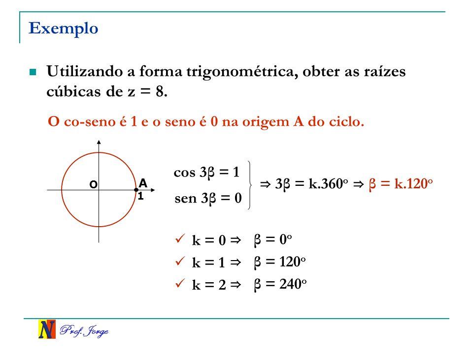 Exemplo Utilizando a forma trigonométrica, obter as raízes cúbicas de z = 8. O co-seno é 1 e o seno é 0 na origem A do ciclo.