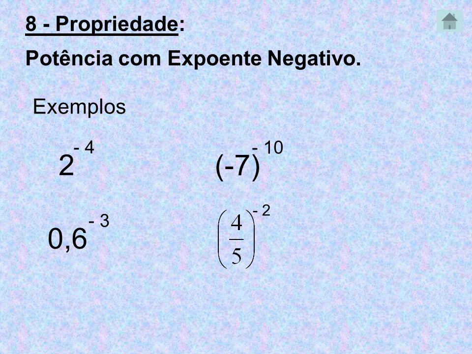 2 (-7) 0,6 8 - Propriedade: Potência com Expoente Negativo. Exemplos