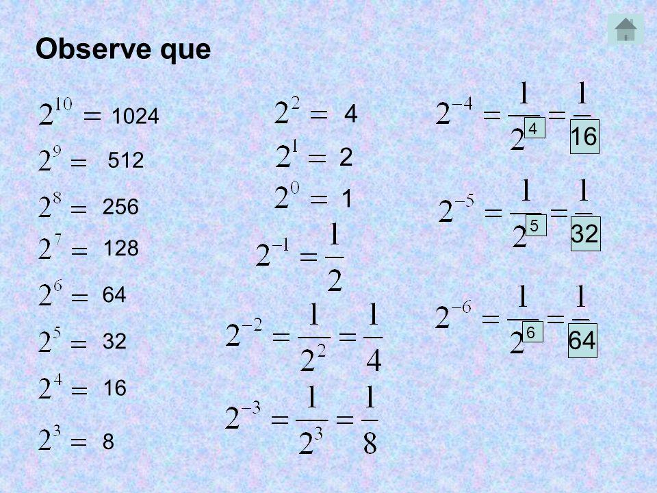 Observe que 4 1024 4 16 2 512 1 256 5 32 128 64 6 32 64 16 8