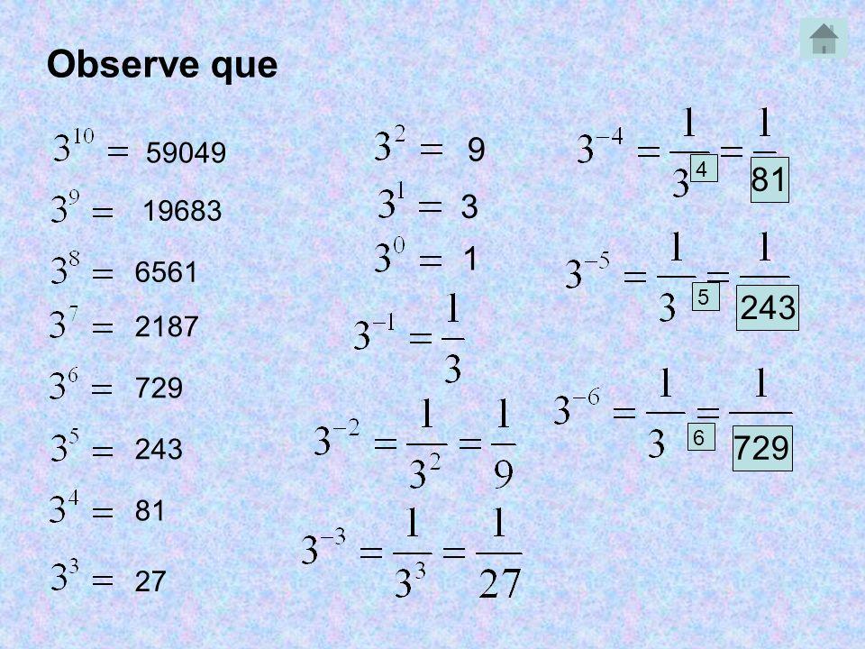 Observe que 9 59049 4 81 3 19683 1 6561 5 243 2187 729 6 243 729 81 27