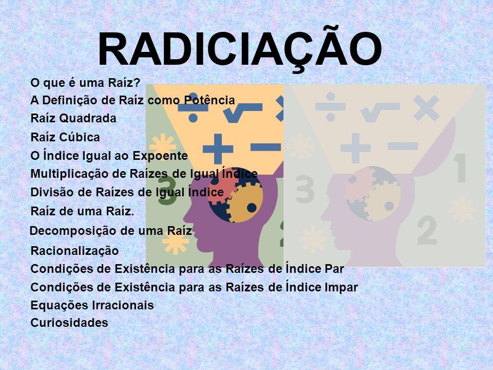 RADICIAÇÃO O que é uma Raíz A Definição de Raíz como Potência