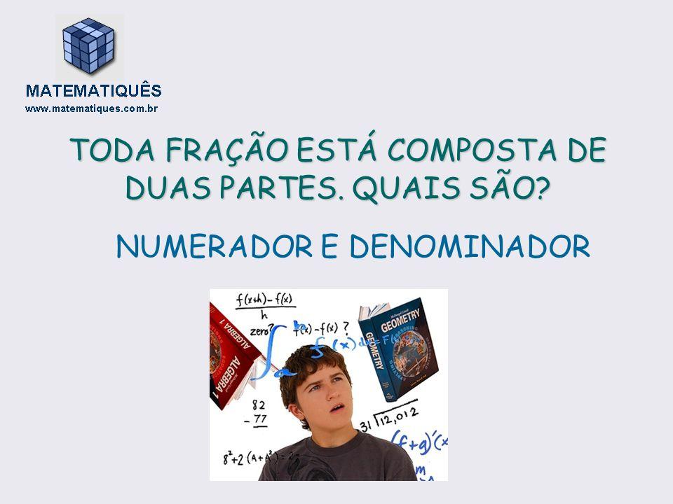 TODA FRAÇÃO ESTÁ COMPOSTA DE DUAS PARTES. QUAIS SÃO