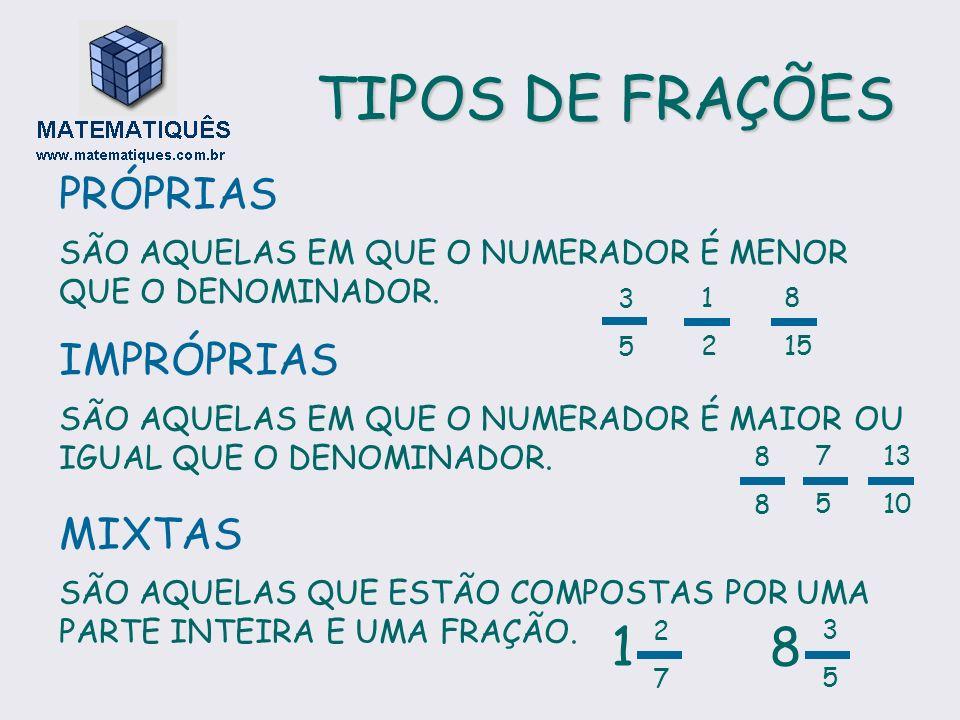 TIPOS DE FRAÇÕES 1 8 PRÓPRIAS IMPRÓPRIAS MIXTAS