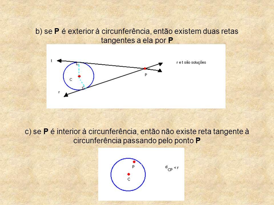 b) se P é exterior à circunferência, então existem duas retas tangentes a ela por P c) se P é interior à circunferência, então não existe reta tangente à circunferência passando pelo ponto P