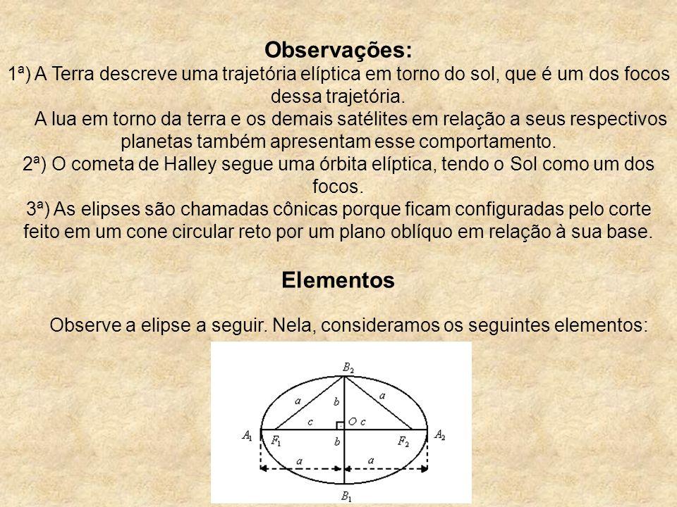 Observações: 1ª) A Terra descreve uma trajetória elíptica em torno do sol, que é um dos focos dessa trajetória.