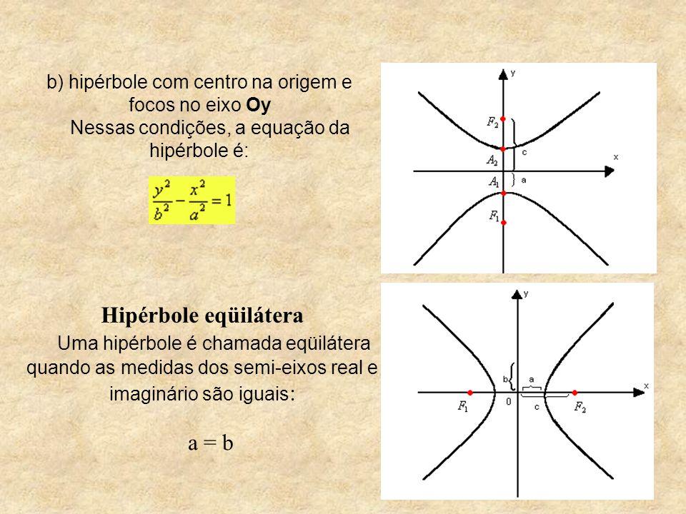 b) hipérbole com centro na origem e focos no eixo Oy Nessas condições, a equação da hipérbole é: