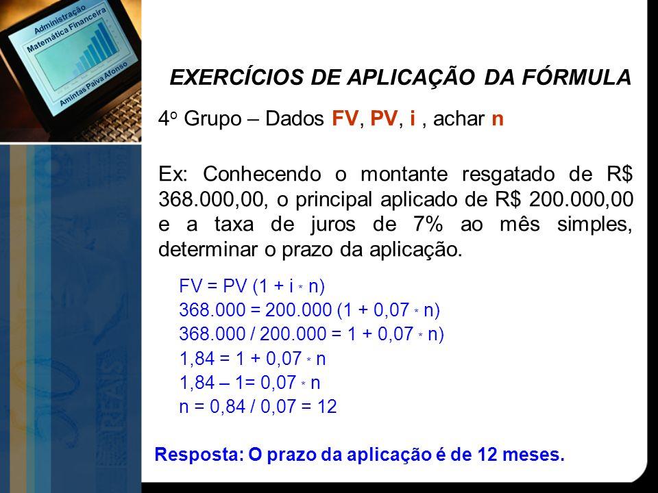 EXERCÍCIOS DE APLICAÇÃO DA FÓRMULA