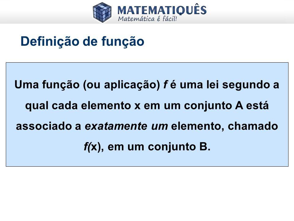 Definição de função Uma função (ou aplicação) f é uma lei segundo a