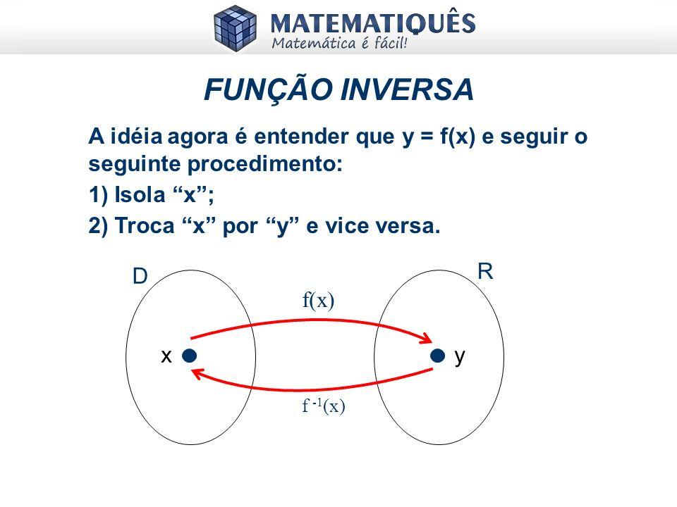 FUNÇÃO INVERSA A idéia agora é entender que y = f(x) e seguir o seguinte procedimento: 1) Isola x ;